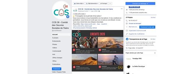 Page Facebook du COS 38